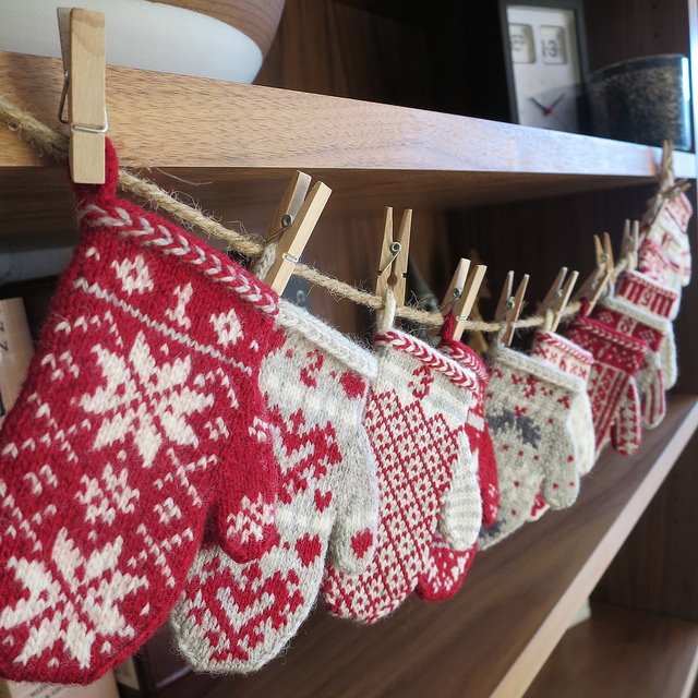 Mitten Garland Advent Calendar by Kathy Lewinski.