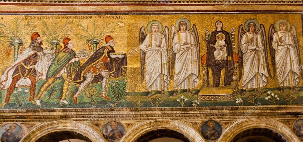 Reyes Magos mosaico de San Apollinaire Nuovo