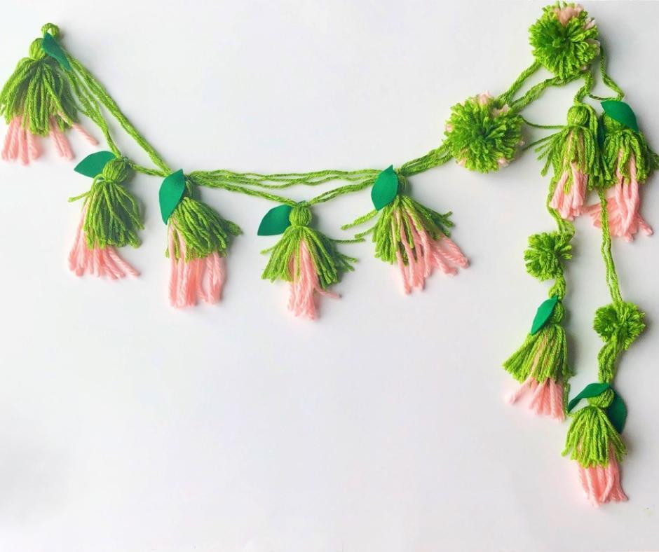 lana guirnalda flores manualidades