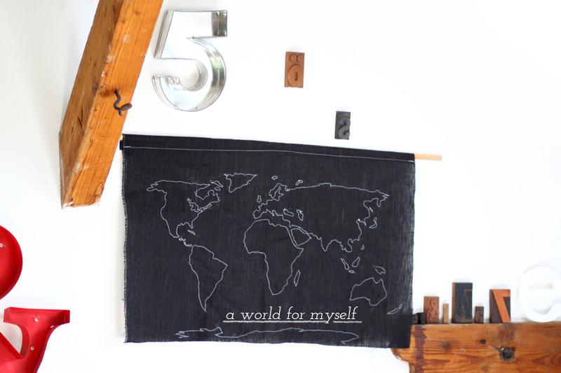 mapa del mundo con tela