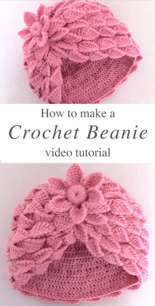 recién nacido CROCHET BEANIE WITH 3D LEAF STITCH by crochet beja