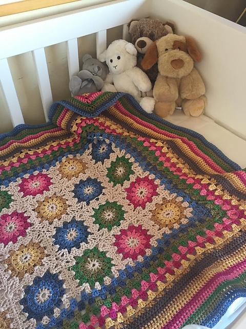 patron de ganchillo manta love baby blanket